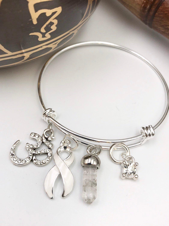 White Ribbon Bracelet Osteoporosis Retilastoma Lung Cancer Bone Disease Mesothelioma Emphysema Scoliosis Om Meditation Yogi By