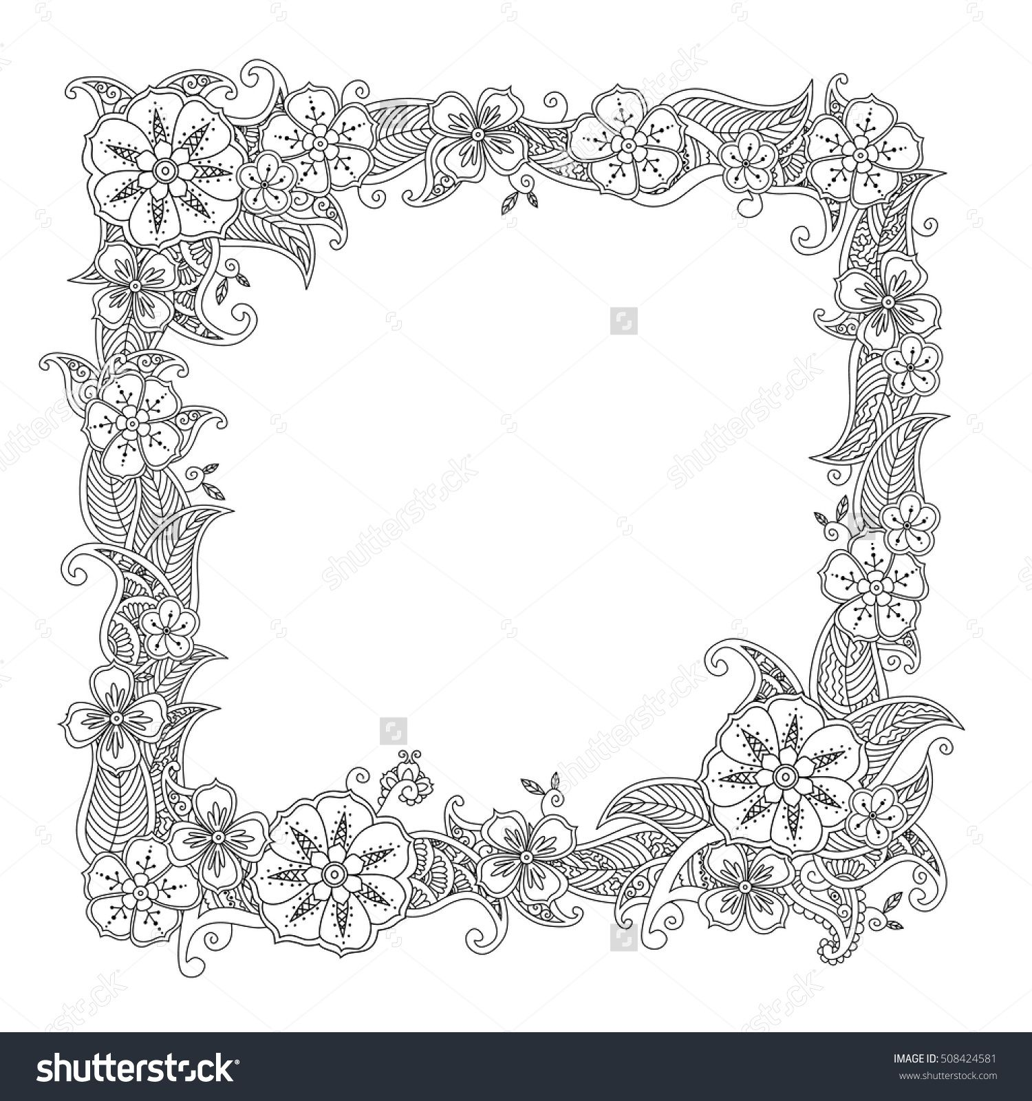 Floral Hand Drawn Square Frame In Zentangle Style Isolated On White Background Doodle Flowers Decorative Border Coloring Book For Adult And Children