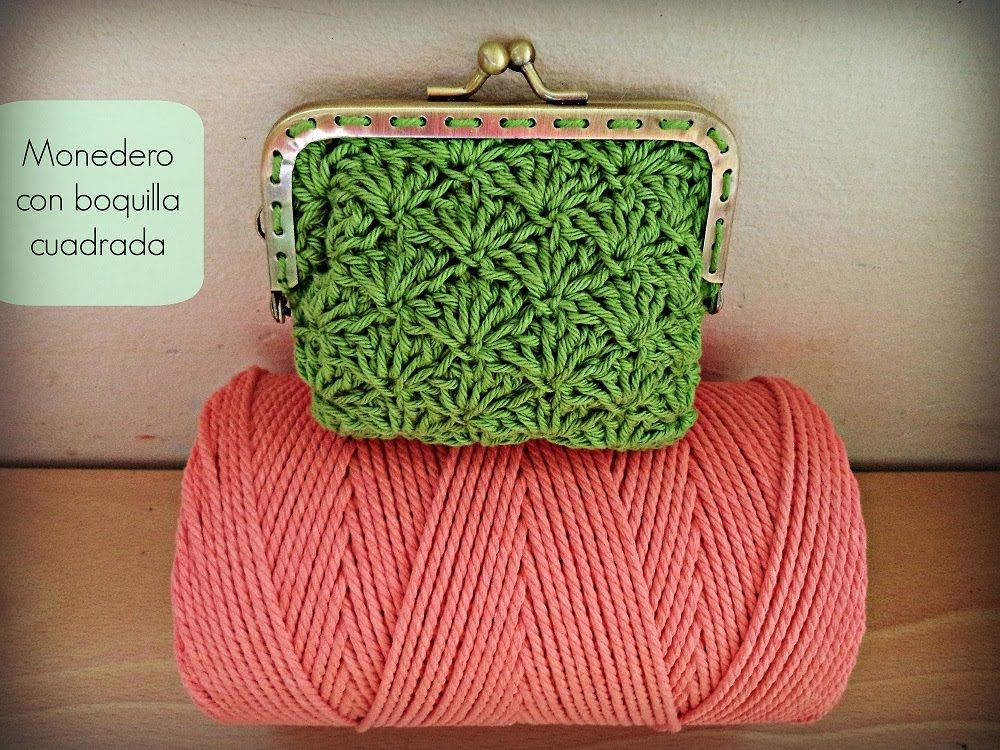 Monedero de ganchillo con boquilla cuadrada Crochet purse