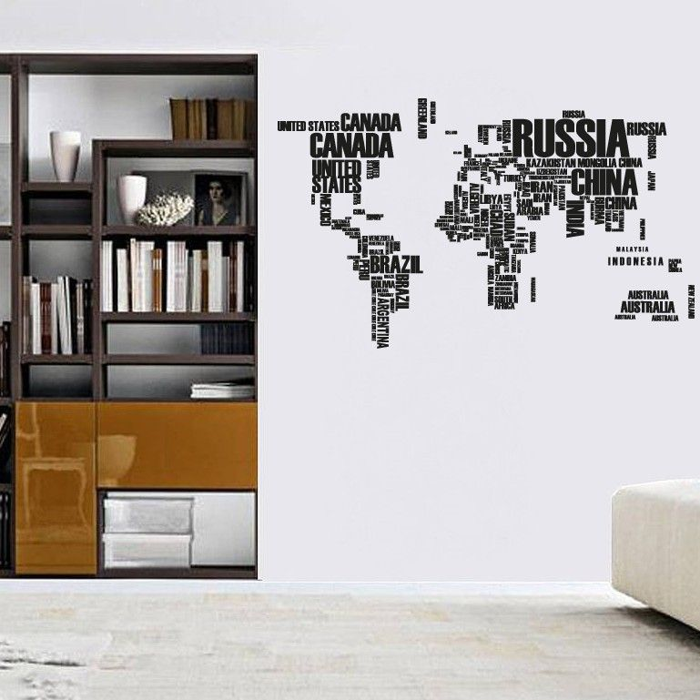 World Map Wall Sticker Decal Large