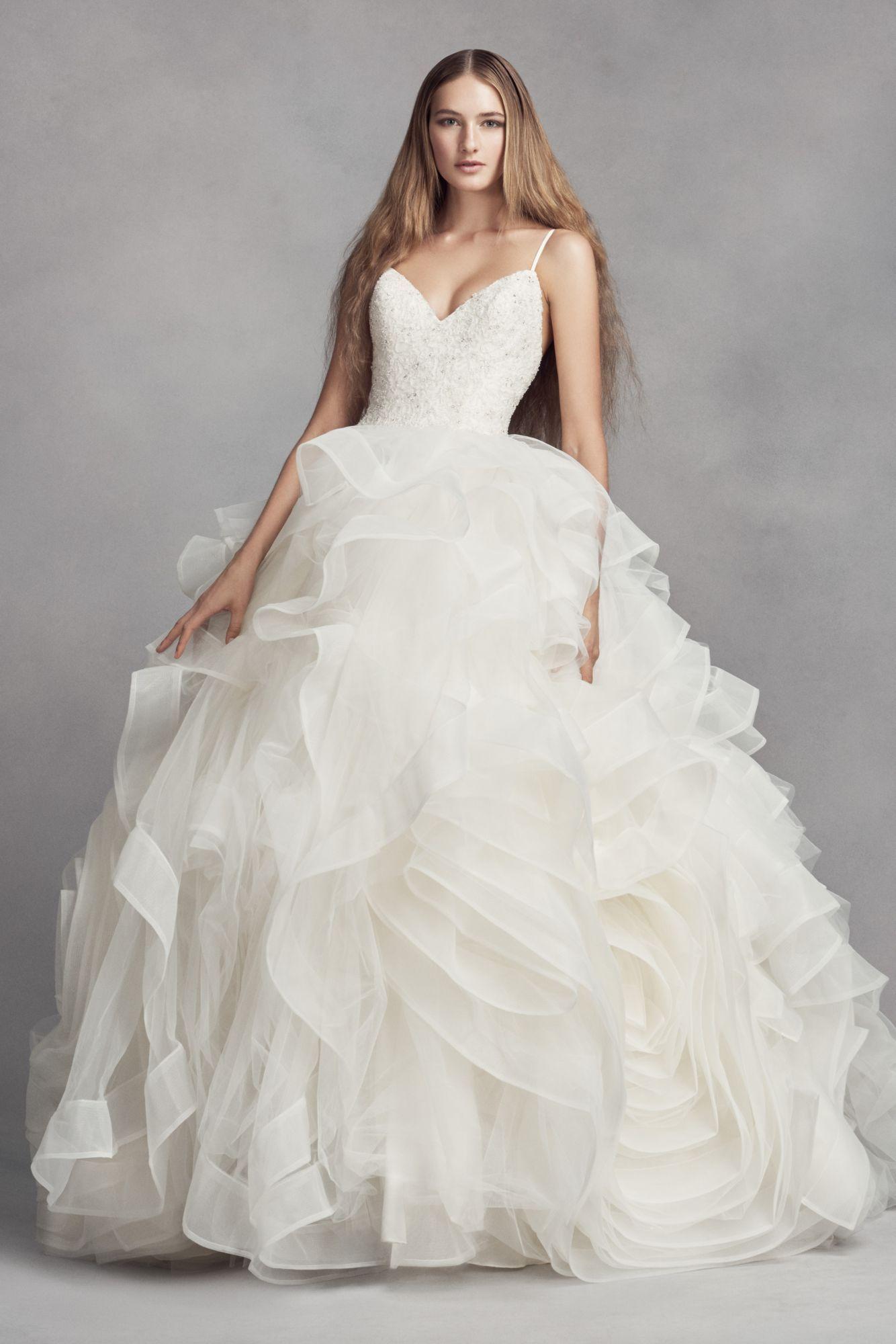 White By Vera Wan Spaghetti Straps Floor Length Organza Rosette Skirt Wedding Dress Vw35 Wedding Dress Organza Davids Bridal Wedding Dresses Ball Gowns Wedding