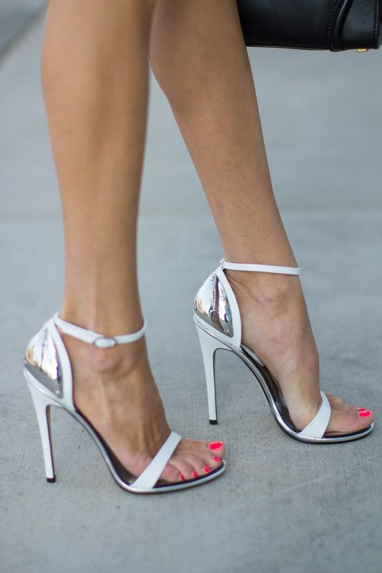 Emmy DE * #silver and #white heels | sexy feet | Pinterest | White ...