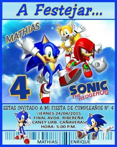 Tarjeta De Invitación Motivo Sonic Fiestas De Cumpleaños