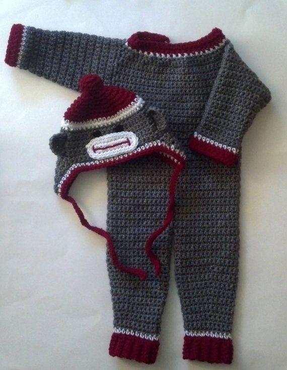 Crochet Baby Sock Monkey Pajama and Costume by ModernBabyCrochet ...