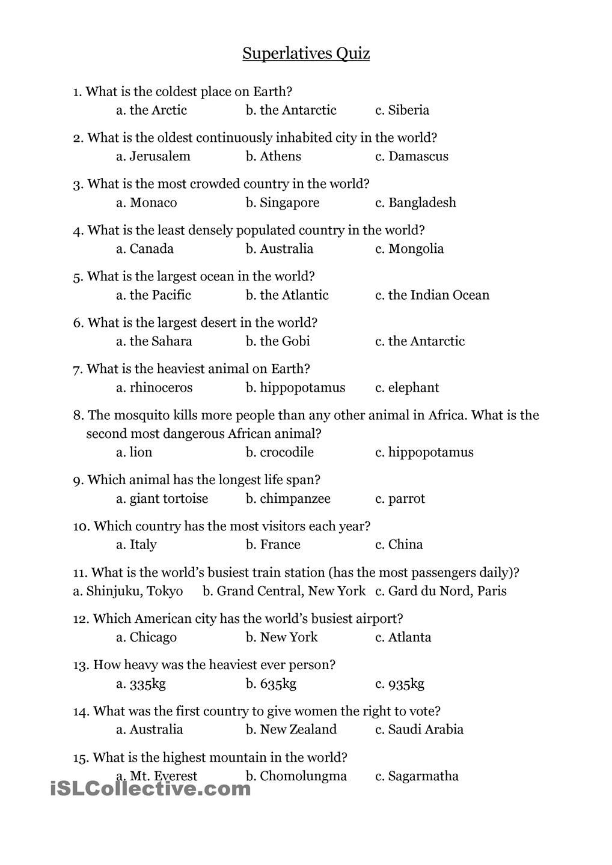 Superlatives Quiz Superlative Adjectives Superlatives Adjectives