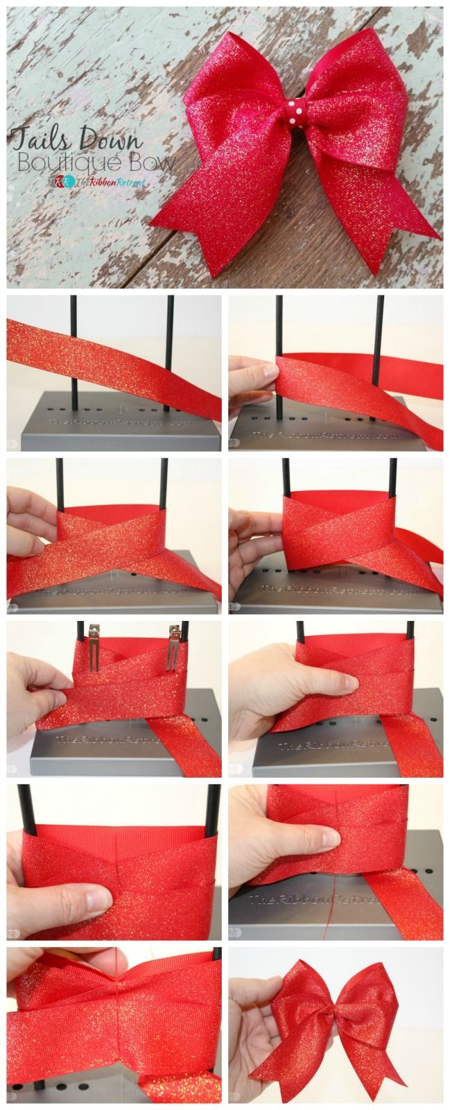 How To Make A Tails Down Boutique Bow The Ribbon Retreat