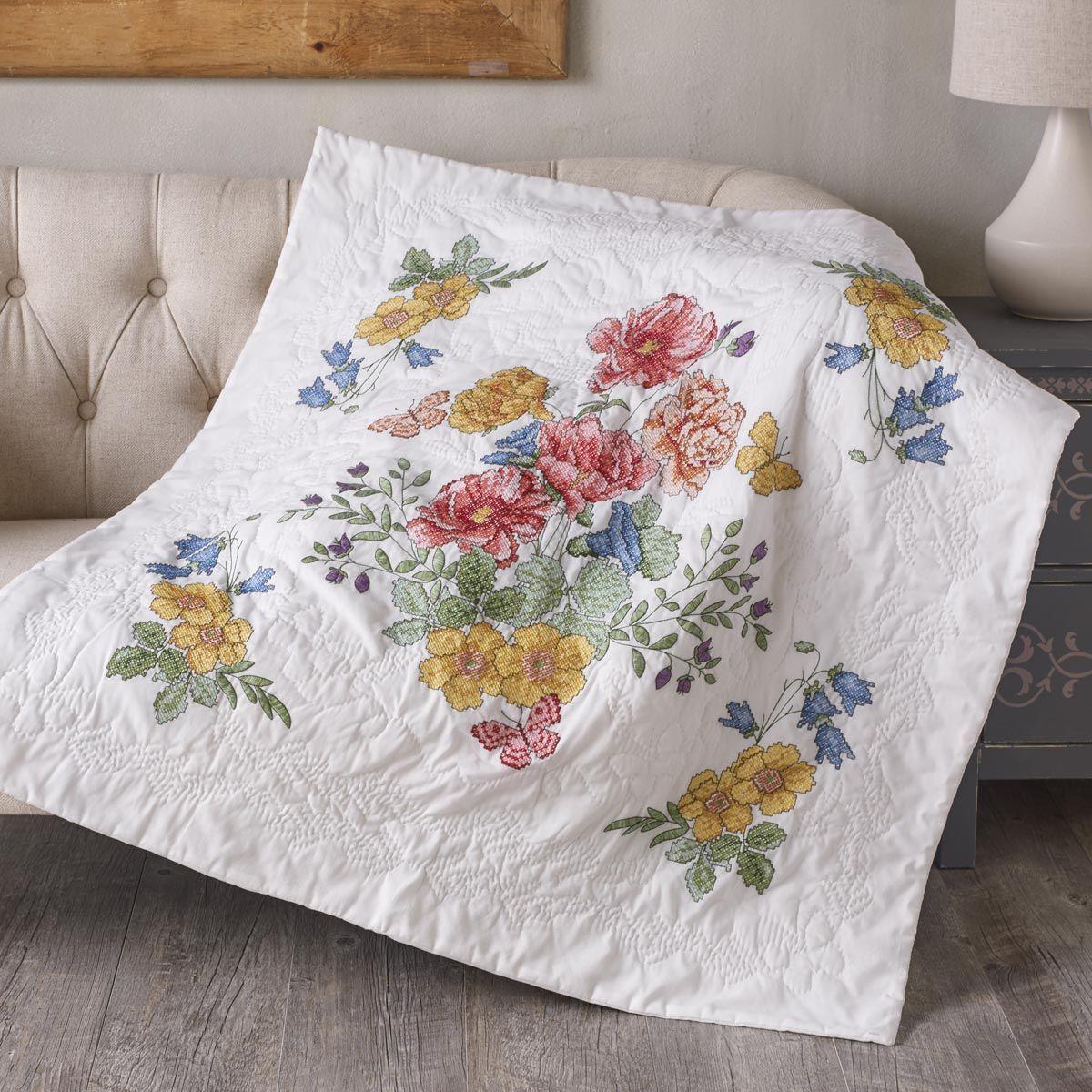 Bucilla ® St&ed Cross Stitch - Lap Quilts - Flowers From the ... : stamped cross stitch lap quilts - Adamdwight.com