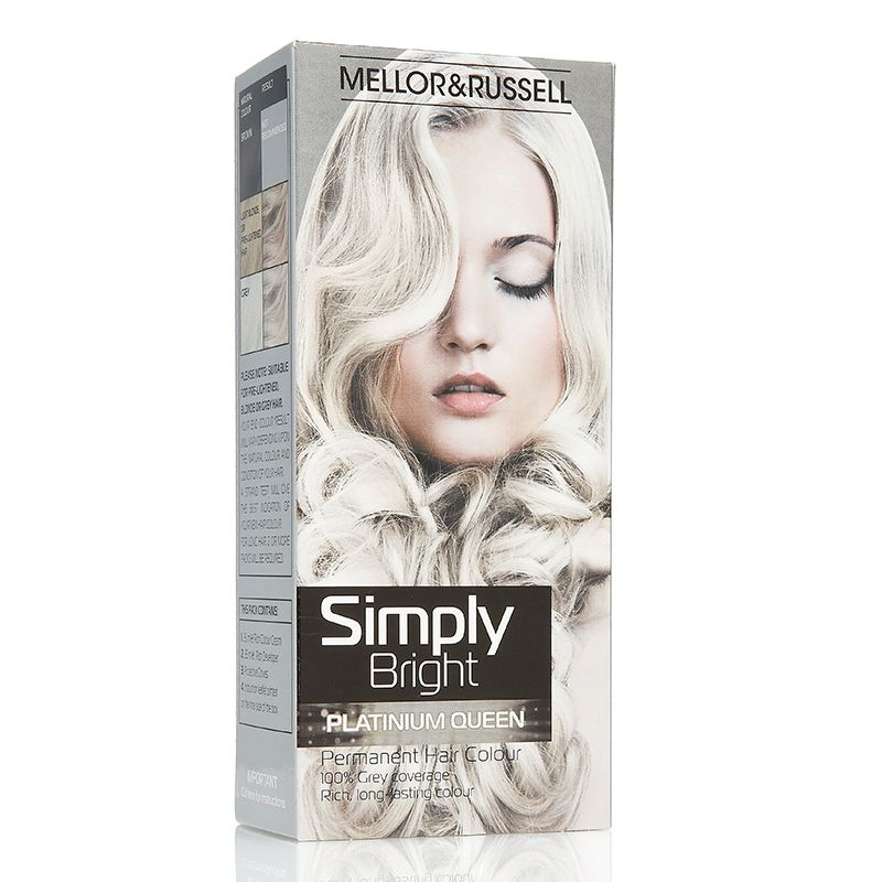 Simply Bright Platinum Queen Mellor Russell Silver Hair Dye Box Hair Dye Best Box Hair Dye