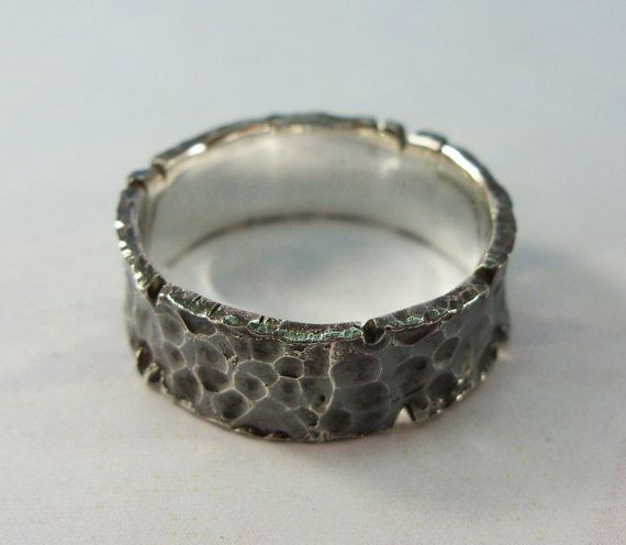 hammered oxidized silver ring band Rustic by SilverThreeSnails
