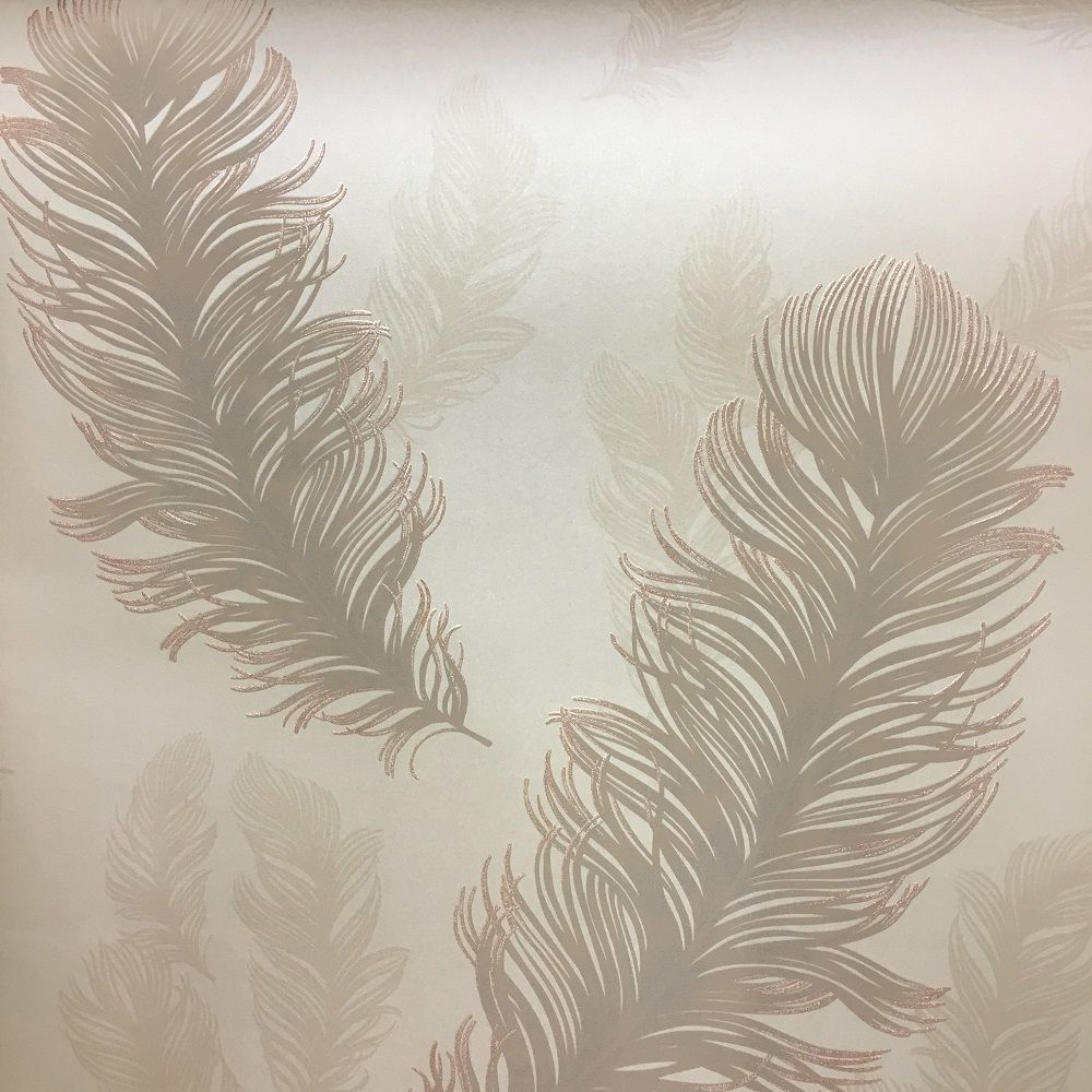 Arthouse Sirius Rose Gold Wallpaper Feather Wallpaper