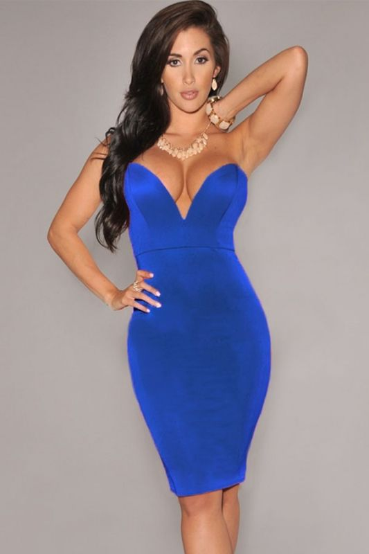 Blue Plunging V Neck Strapless Bodycon Party Dress US 18.56 ... 419da01ee