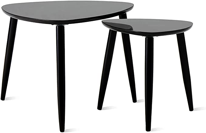 Modern Sofa Side End Table with Glossy Tabletop for Living Room Easy Assembly Knocbel Nesting Coffee Tables Set of 2 Black