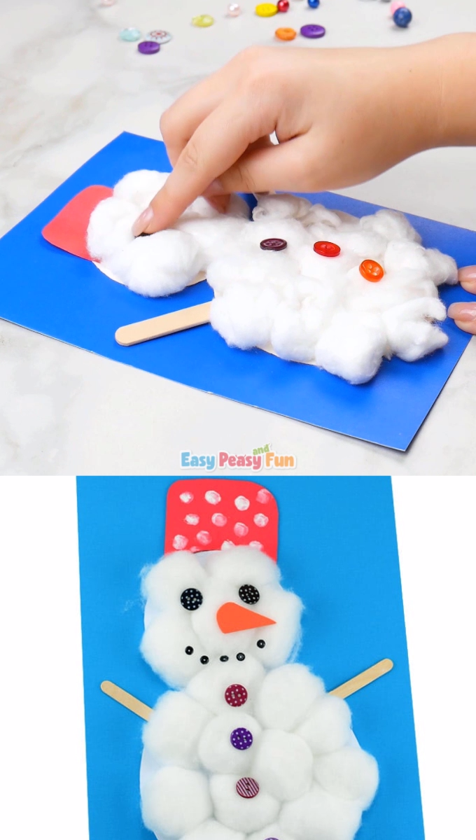 Photo of Cotton Ball Snowman Craft