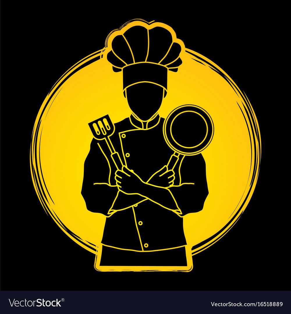 Chef Cook Standing Crossed Arms With Pan And Spatula Designed On Sunlight Background Graphic Vector Download A F Chef Logo Restaurant Logo Design Cartoon Logo
