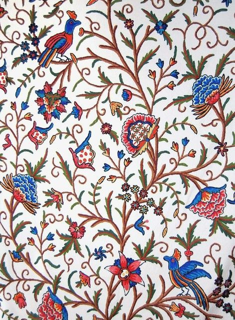 Cotton Crewel Embroidered Fabric Tree Of Life Birds Multicolor