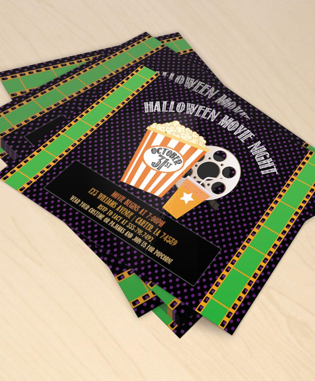 Halloween Movie Night Printable Halloween Party Invitation