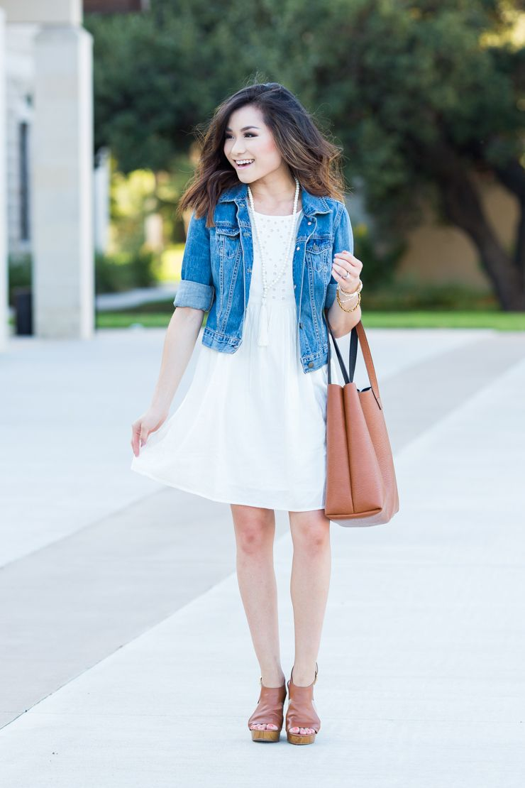 CREAM EYELET DRESS DENIM JACKET | lookin' good | Pinterest | Bags ...