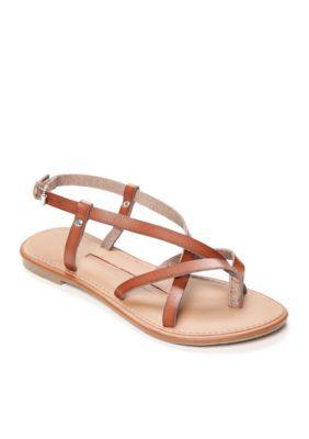 662b92d942ea New Directions Cognac Juliana Strappy Flat Sandal