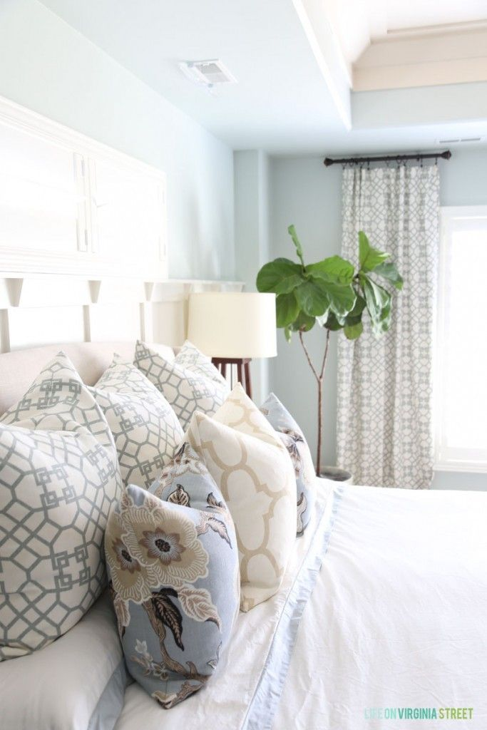 Master Bedroom Pillows and Bedding with Sherwin