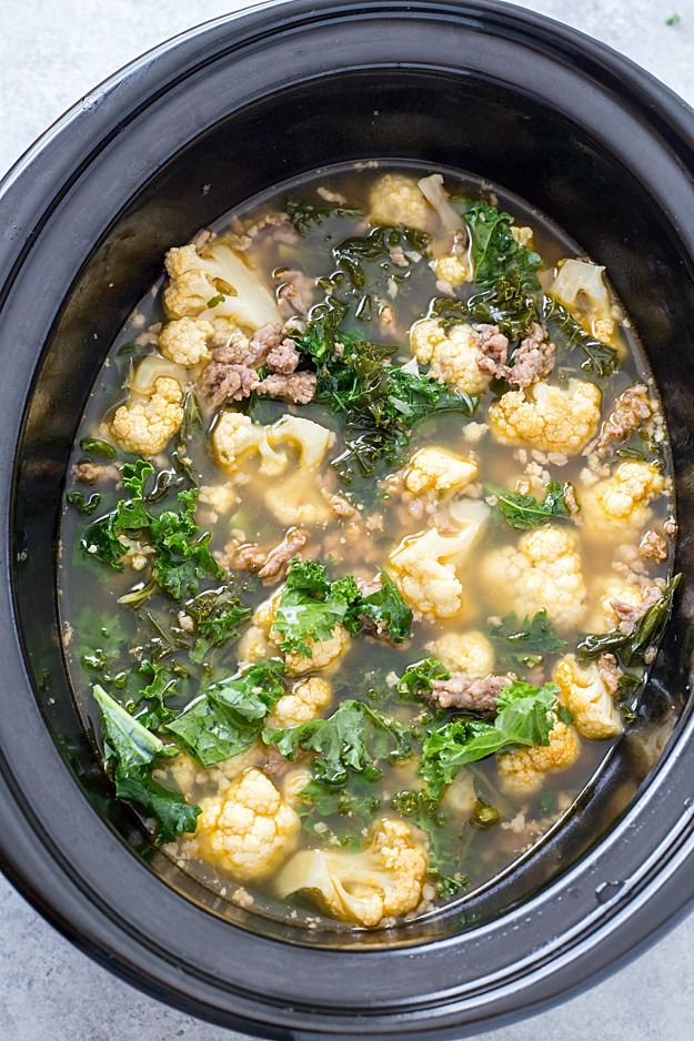 Slow Cooker Low Carb Zuppa Toscana Soup - Skip the trip to your local restaurant and make a batch of this insanely delicious copycat soup! It's healthy, it's delicious, and it's made low carb! Perfect for a low carb and keto-friendly lifestyle!