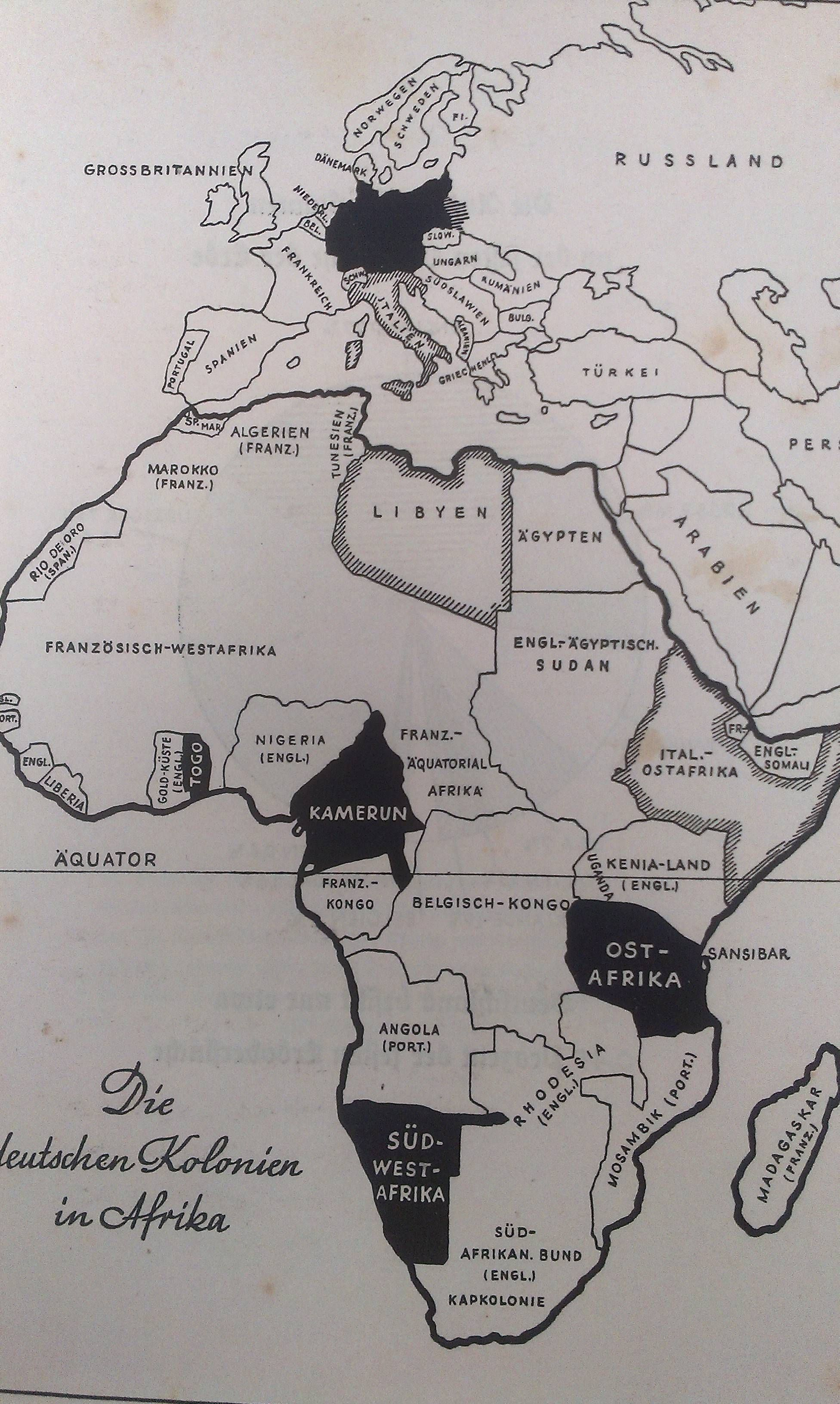 The German colonies in Africa Map from