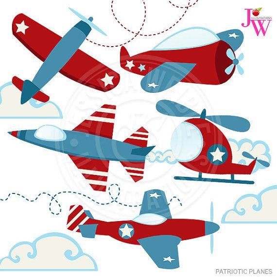 Patriotic Planes Cute Digital Clipart Airplane by ...