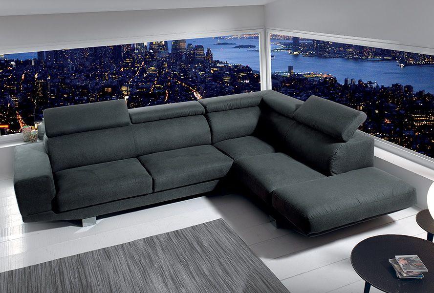 canap d 39 angle oakley coloris gris clair havane ou anthracite canap s fauteuils. Black Bedroom Furniture Sets. Home Design Ideas