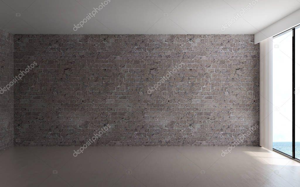 Interior Design Empty Room Brick Wall Background Stock Photo