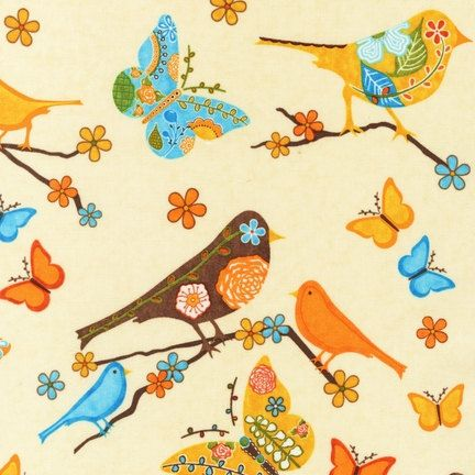 Retro Bird and Butterfly Fabric