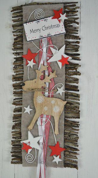 Adventskranz - Türkranz Weihnachten Rebenmatte, Rot Natur Elch - ein Designerstück von ems-floristik bei DaWanda #weihnachtsdekohauseingang