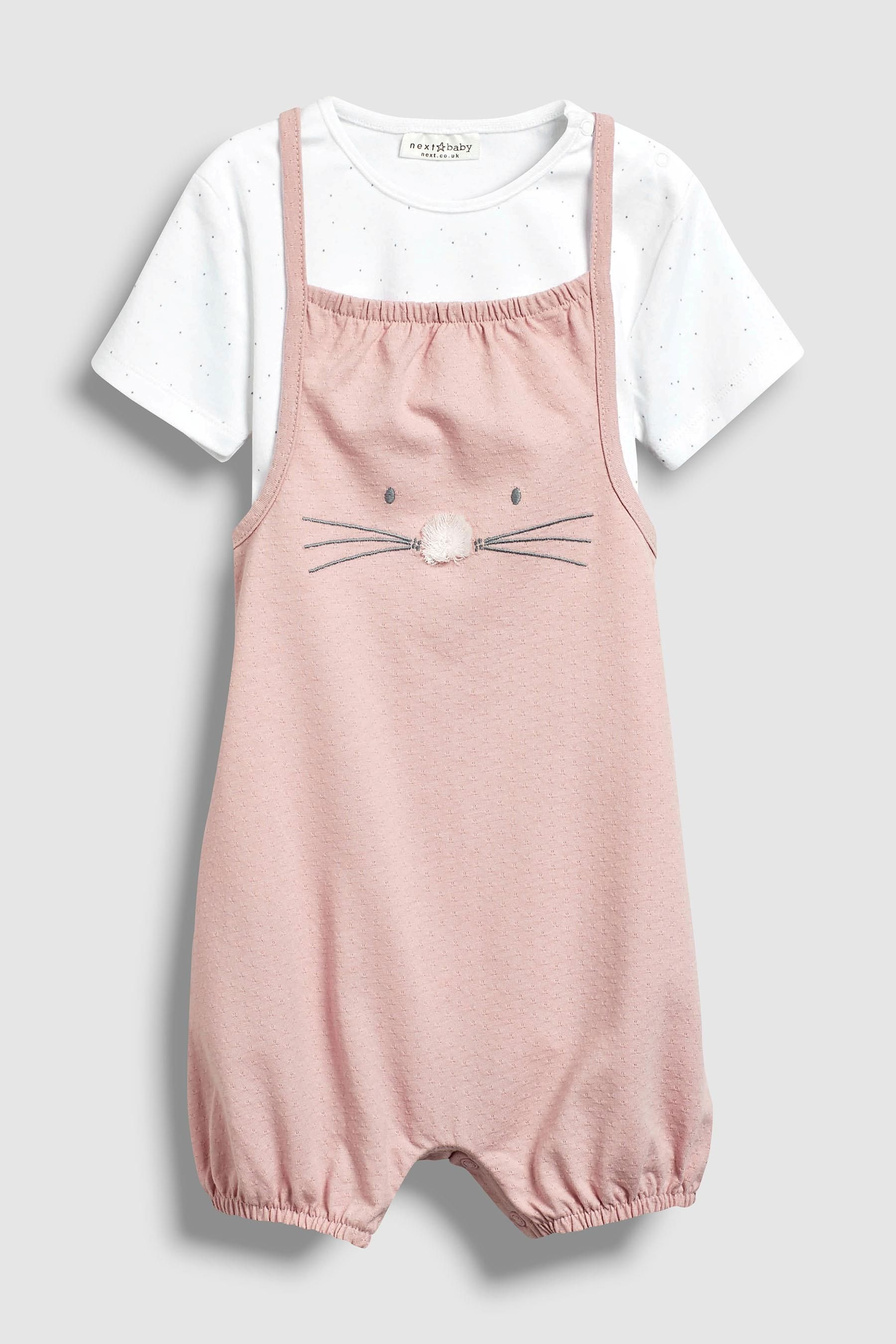 1bdd9a54d7d Buy Pink Pom Face Dungarees And Bodysuit (0mths-2yrs) from the Next UK online  shop