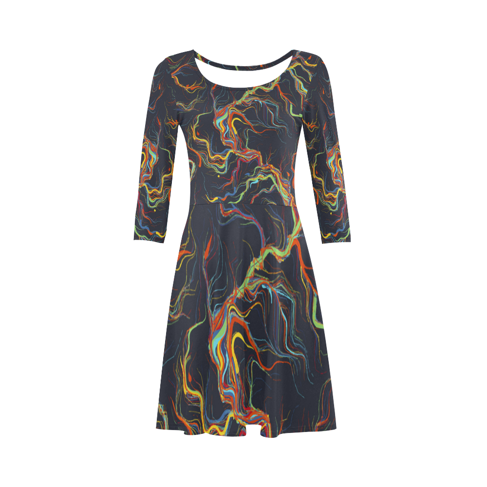 Fire And Light Abstract Art 3/4 Sleeve Sundress (D23)