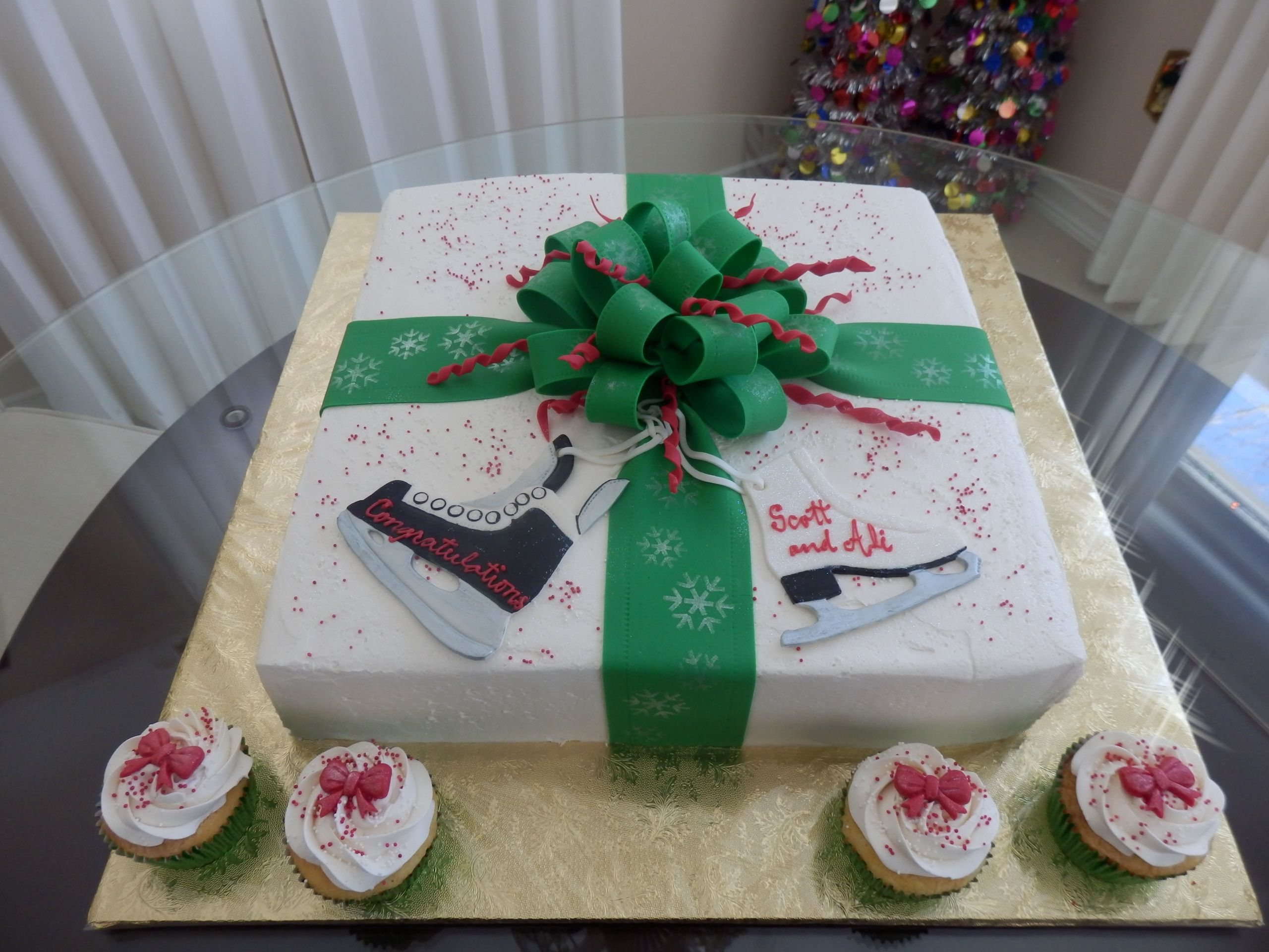 Gender Reveal Cake He Plays Hockey, She Teaches Figure Skating