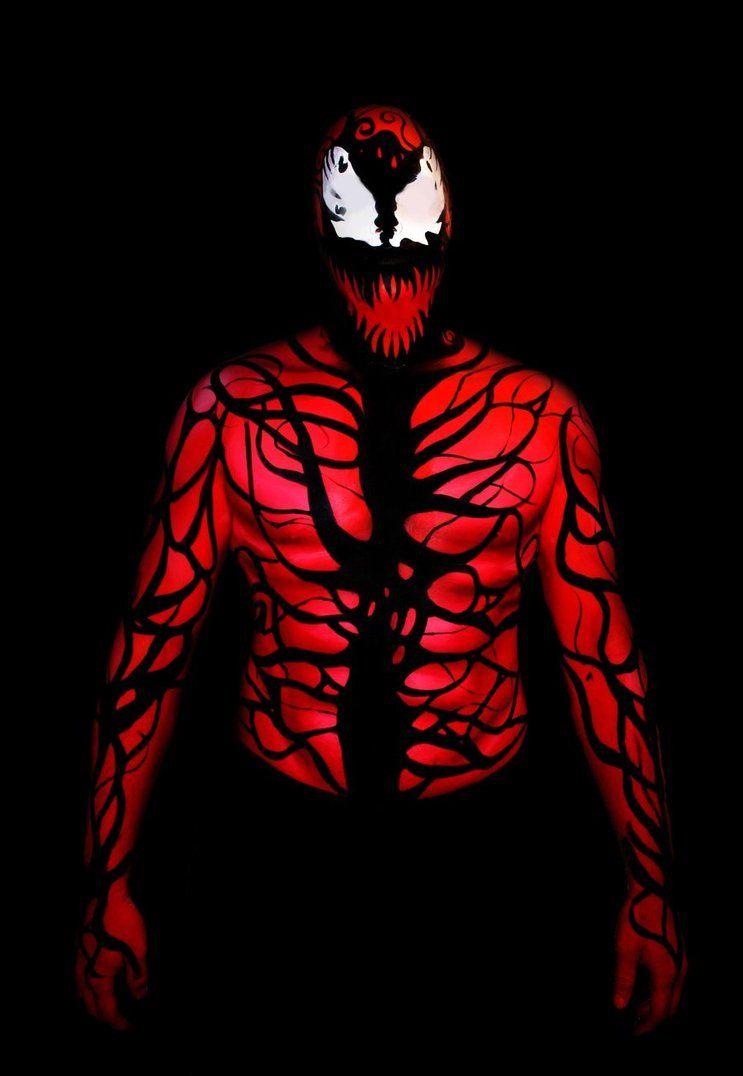 Men's Carnage costume Body Paint Glow in the Dark! | UV Body Paint ...