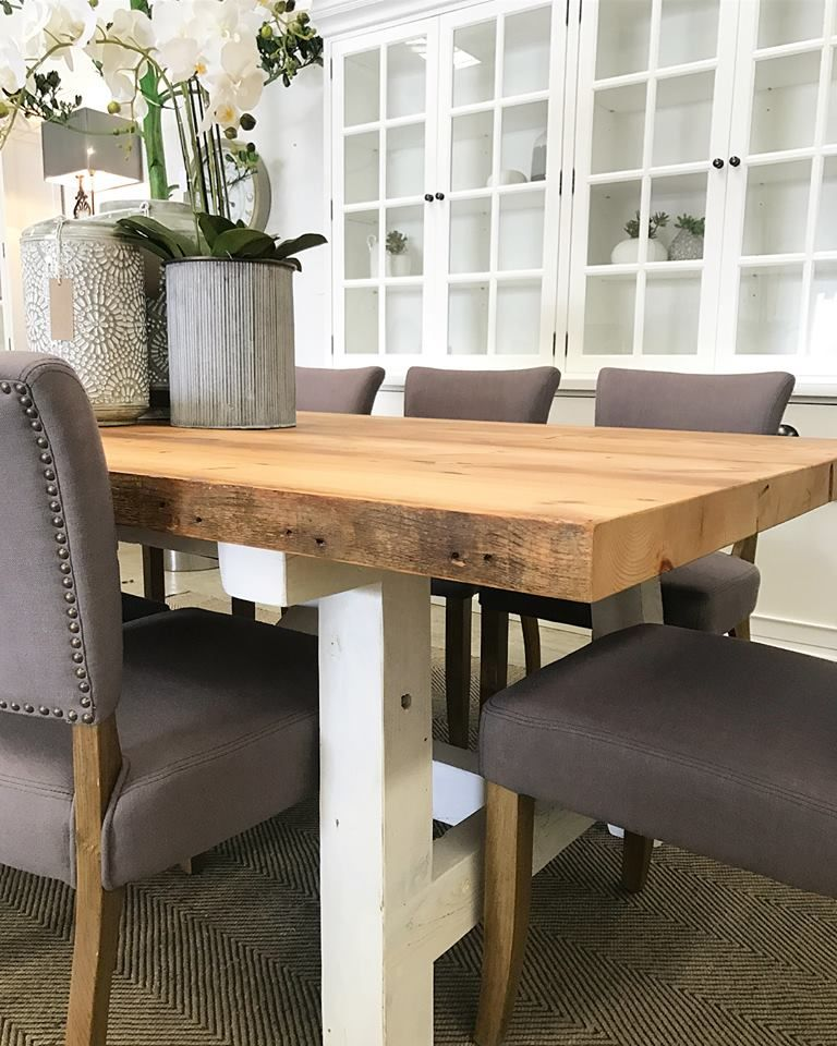 Close Up Profile Of Our Hampton Style Dining Table With Over 100