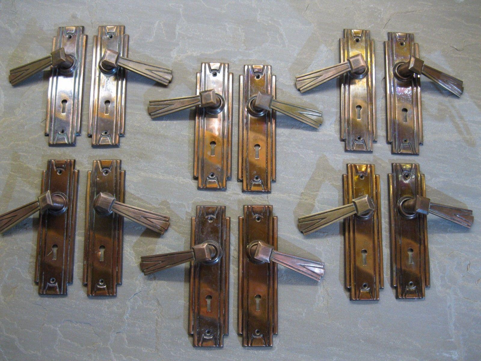 6 Pr Original Reclaimed 1932 Art Deco Brass Sunbeam Door Lever