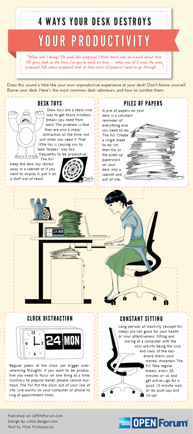 Improve your Work Space, Increase your Productivity - Marie Leslie [Infographic]