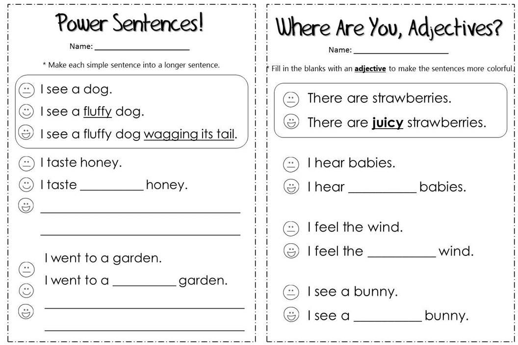 descriptive writing exercise Language arts writing activities for students.