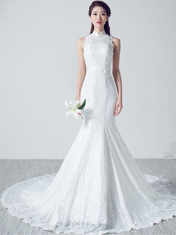 Custom Made White Lace Belted Qipao Cheongsam Wedding Gown With