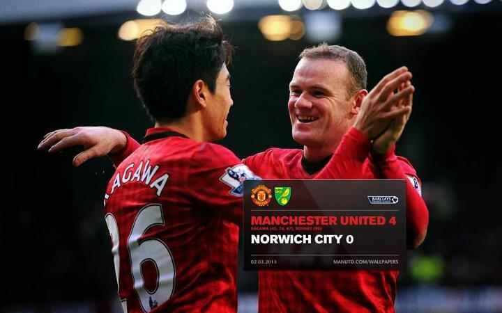 United 4 Norwich 0 Manchester United Norwich City Manchester