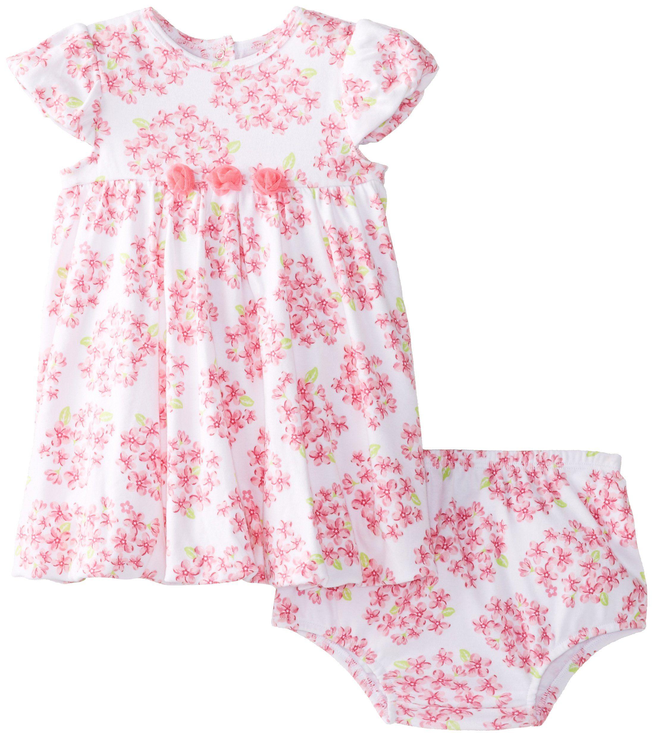 Little Me Baby-Girls Newborn Floral Bunch Dress Set, White Floral, 6 Months