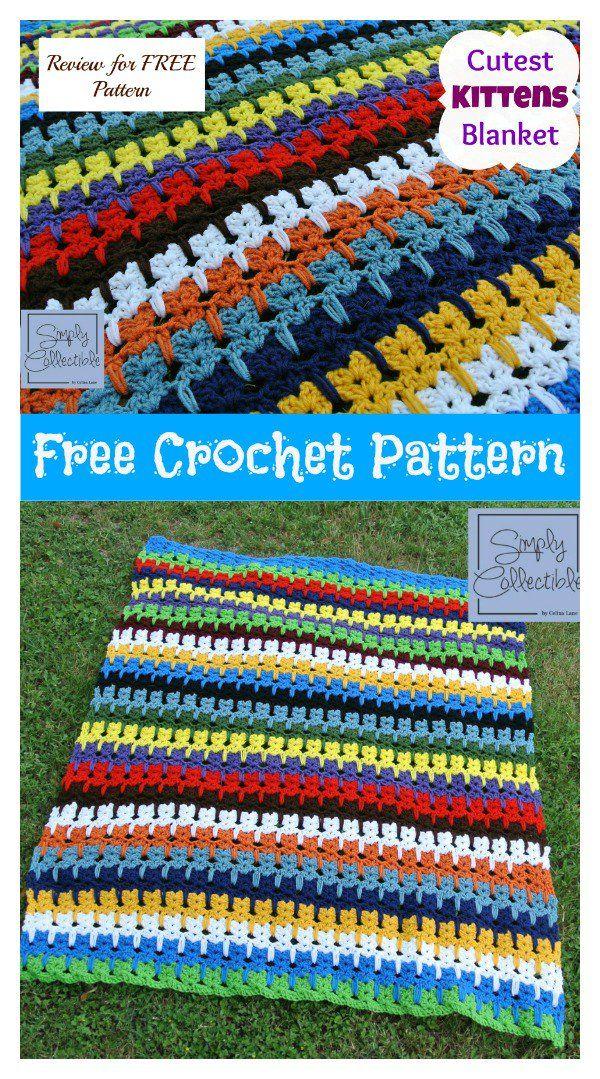 Cutest Kitties in a Row Afghan Blanket Free Crochet Pattern   Scrap ...
