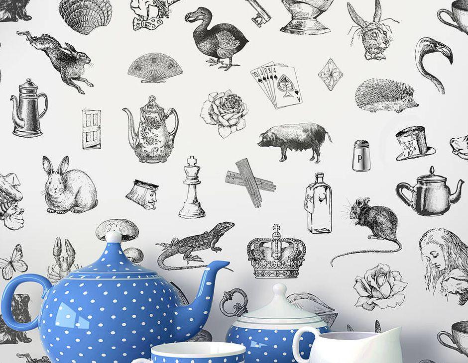 'Alice In Wonderland' Self Adhesive Wallpaper