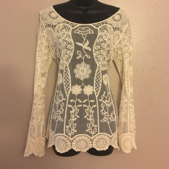 Wish list Sheer embroidered shirt Preowned, very good condition Wishlist Tops Blouses