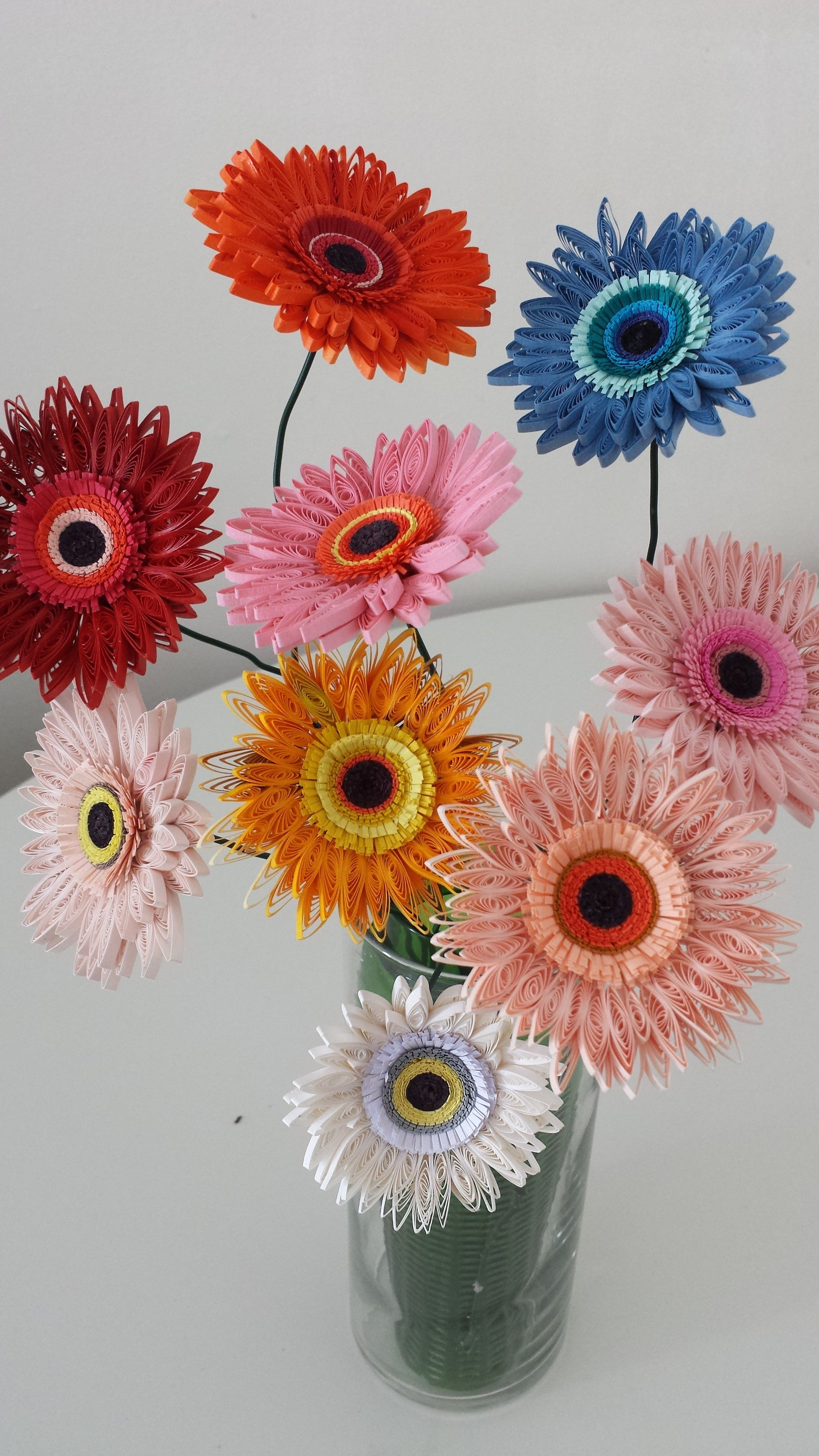 Paper Quilled Gerbera Flower For Wedding Wedding Centerpiece Birthday Anniversary Home Deco Set Of 5 Blomster