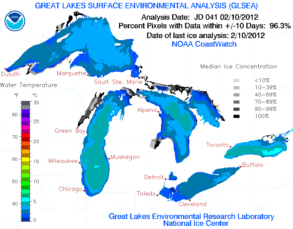 Great Lakes Environmental Research Laboratory Produces A Daily Surface Temperature Map Of The Great Lakes Great Lakes Lake Michigan Lake