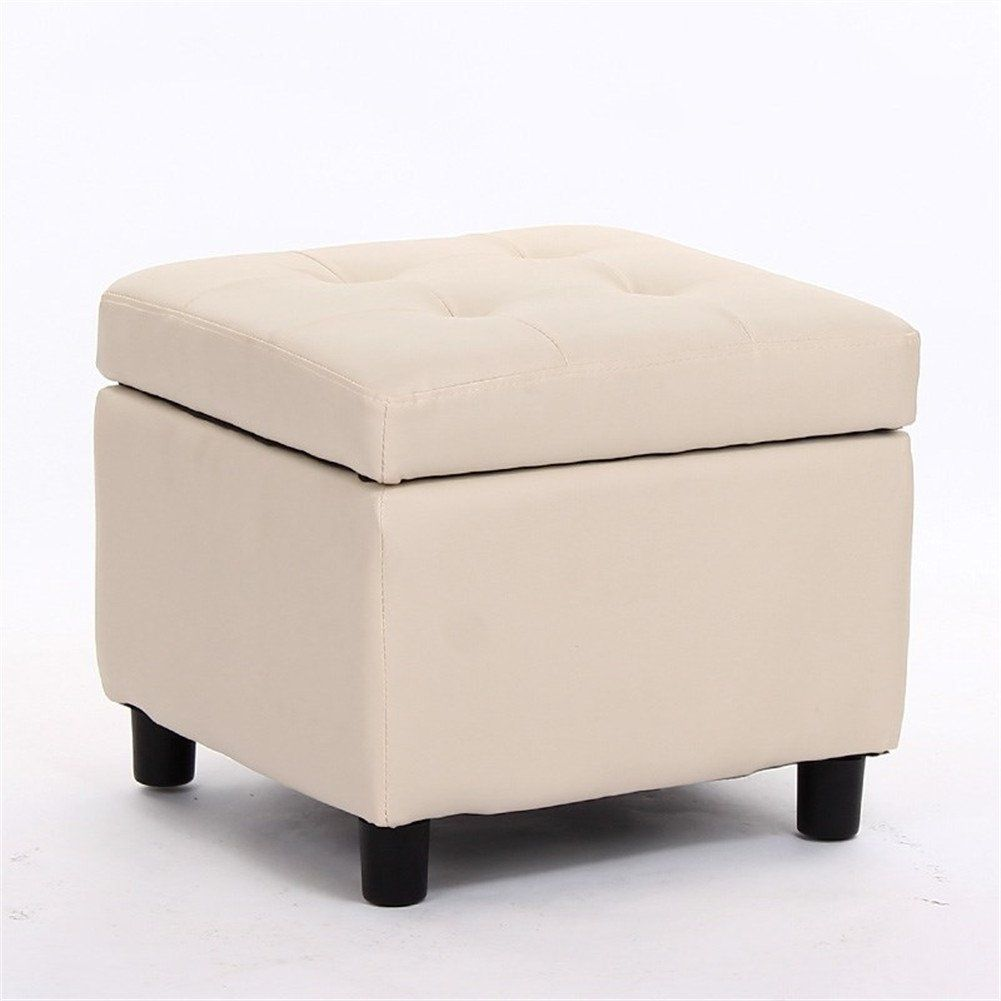 Storage Ottoman Cube Solid Color Footstool Simple Storage Stoole