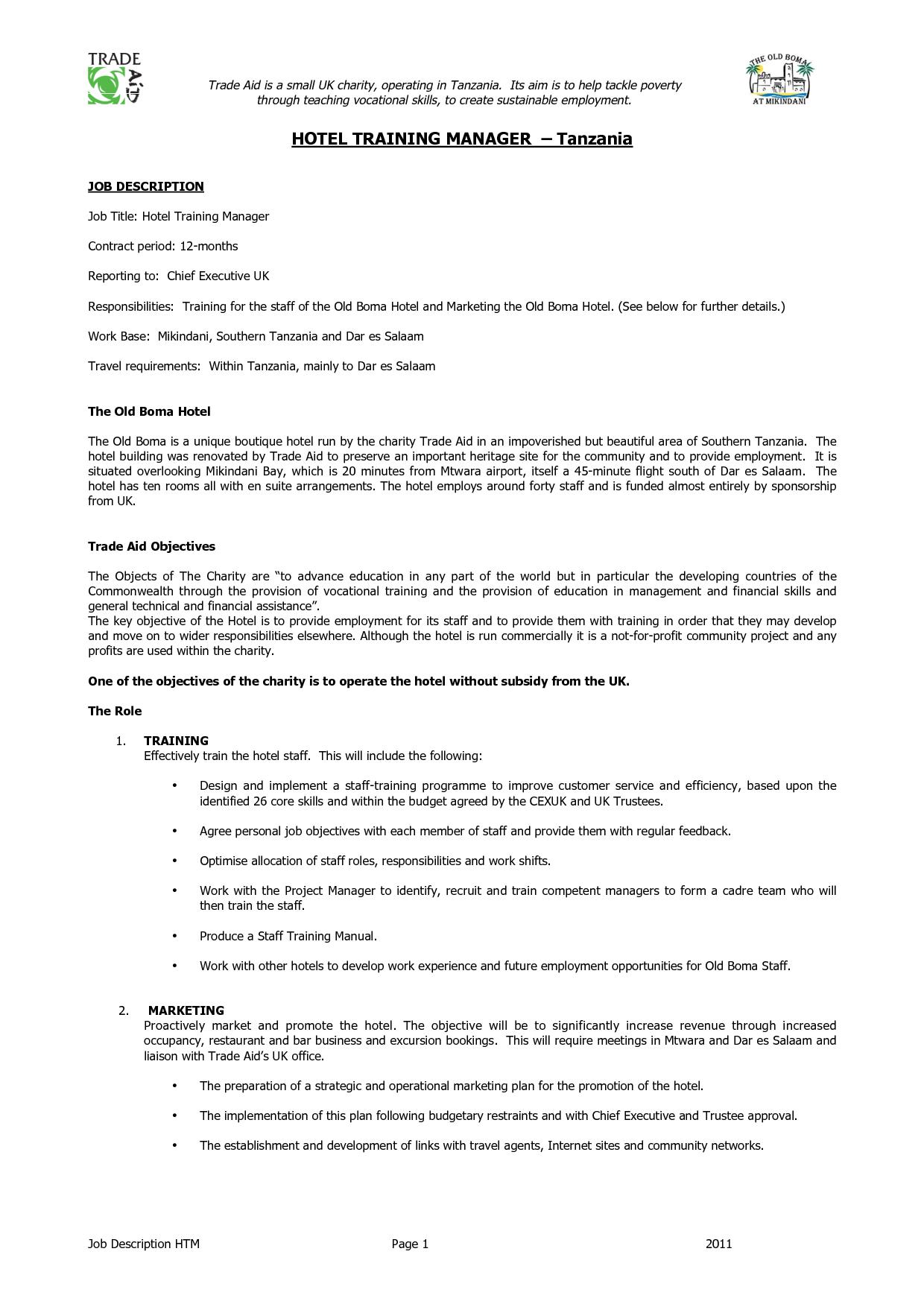 Personal Manager Job Description