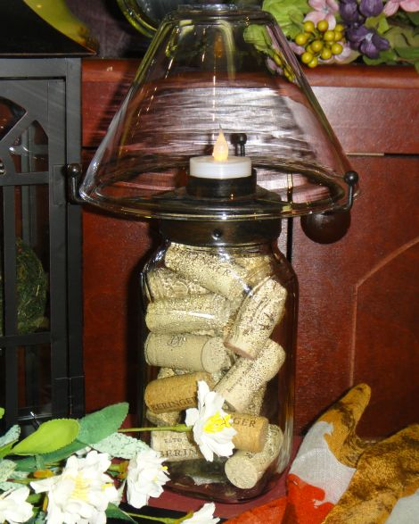 Use Wine Bottle Corks For Vase Filler Here A Candle Lamp Showcases