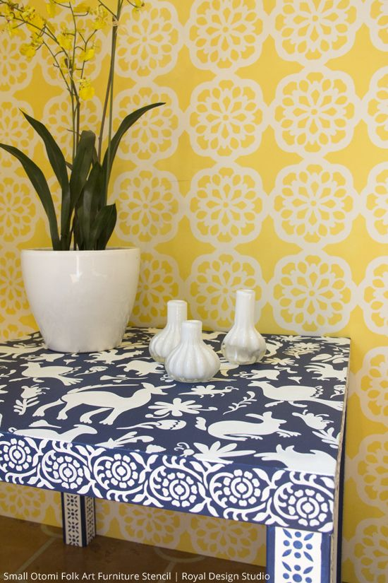 Otomi Stencil on Ikea Hack Table with Napoleonic Blue and Pure White Chalk Paint® decorative paint by Annie Sloan | Via Paint and Pattern